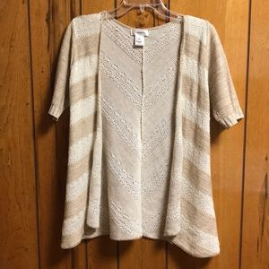 Dressbarn cream/tan striped 3/4 sleeve cardigan